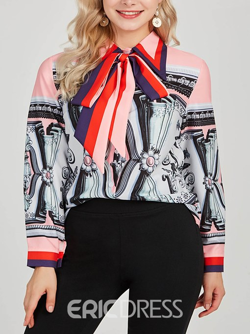 Ericdress Bowknot Single-Breasted Color Block Blouse