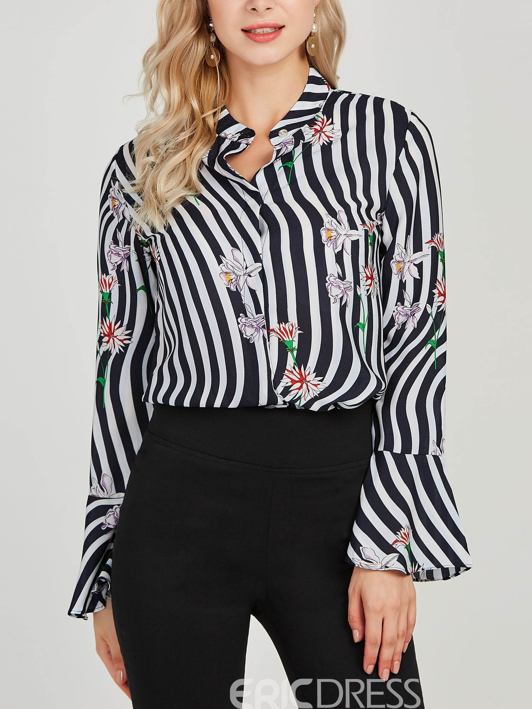 Ericdress Print Stripe Flora Color Block Single-Breasted Blouse