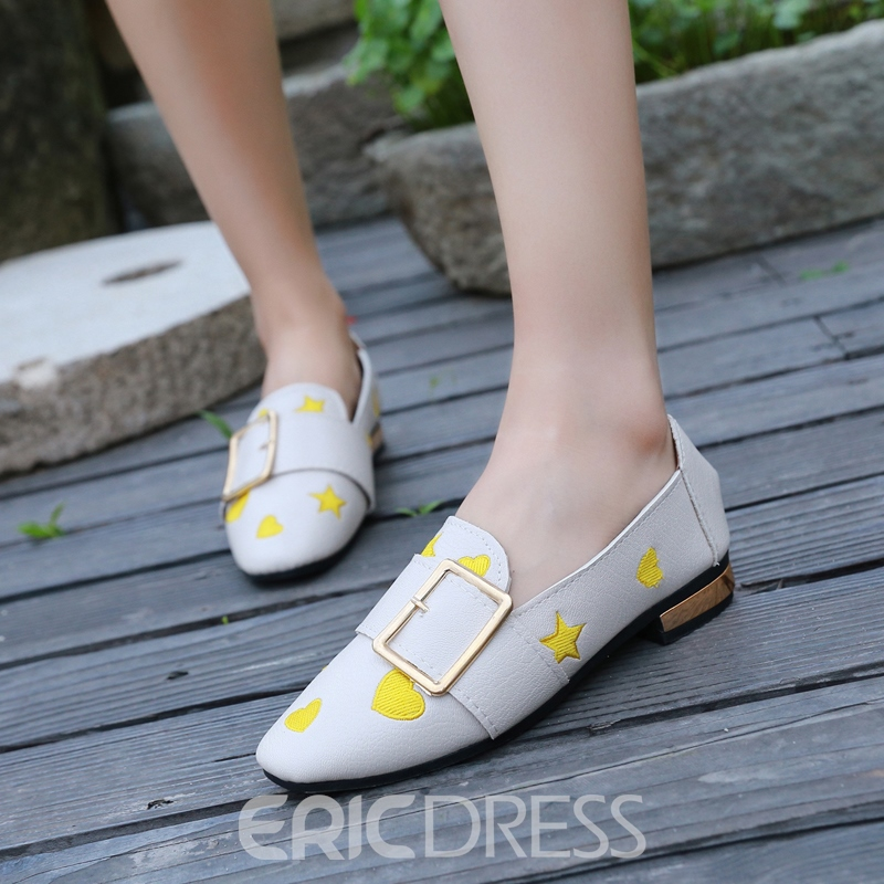 Ericdress Embroidery Square Toe Women's Flats
