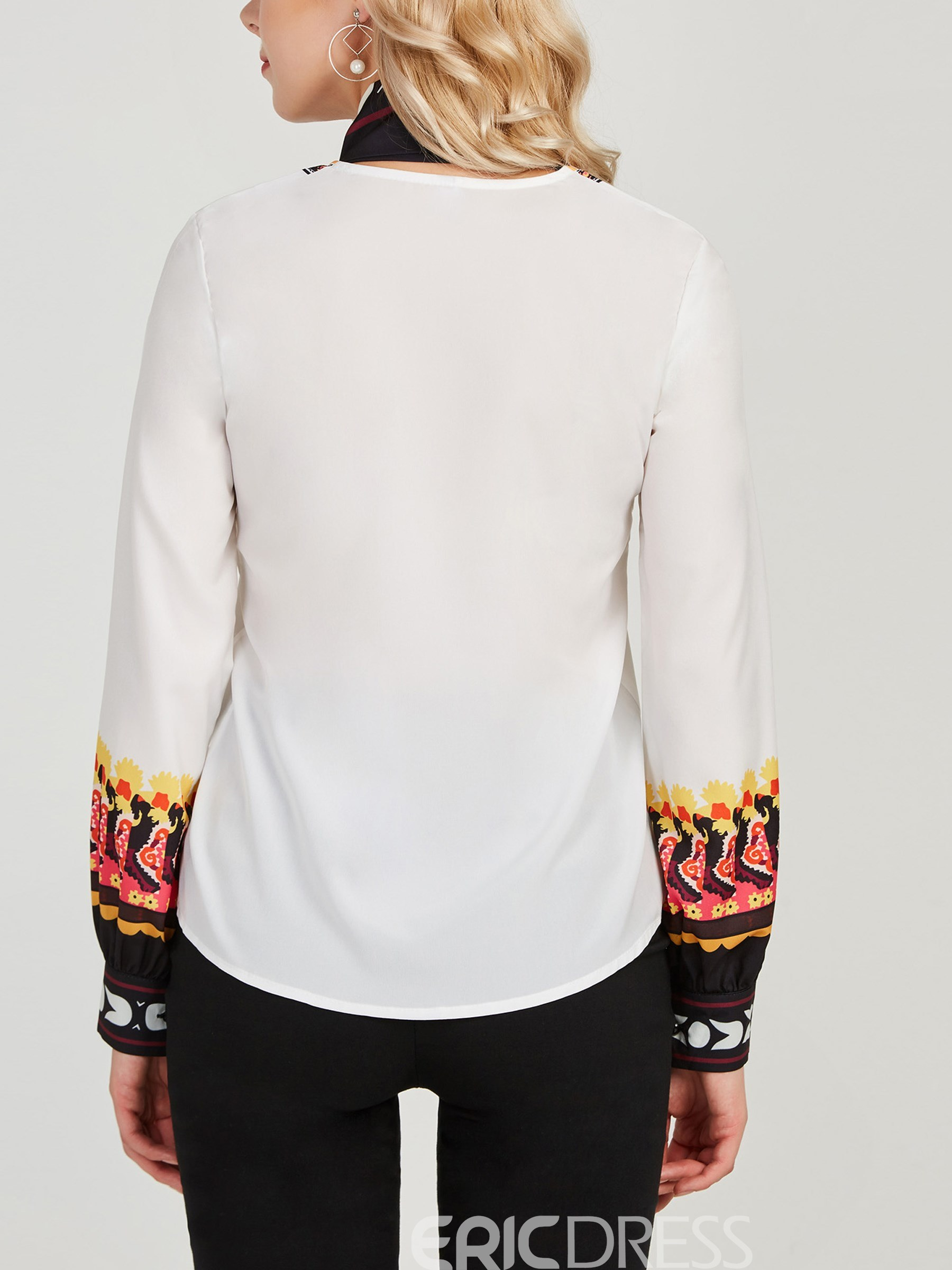 Ericdress Color Block Lace-Up Print Pullover Long Sleeve Blouse