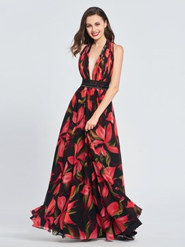Ericdress A Line Halter Print Chiffon Long Prom Dress