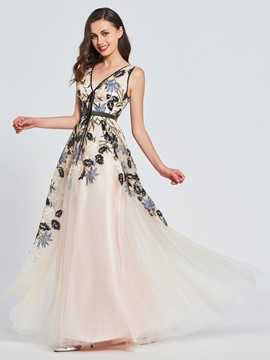 Ericdress A Line V Neck Applique Backless Prom Dress