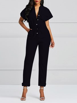 Ericdress Button Lace-Up Pocket Women's Jumpsuits