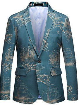 Ericdress Architecture Print Blue Mens One Button Casual Ball Blazer