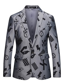 Ericdress Geometric Pattern Print Mens Casual One Button Blazer