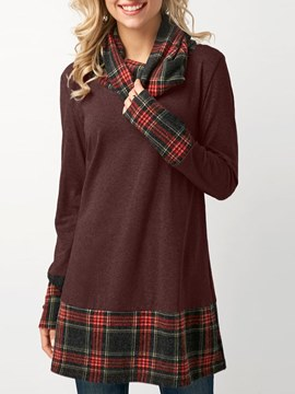 Ericdress Plaid Casual Loose Mid-Length Long Sleeve T-shirt