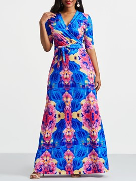 Ericdress African Fashion V-Neck Floral Color Block Maxi Dress