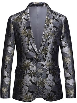 Ericdress Floral Print Lapel Straight One Button Mens Casual Blazer