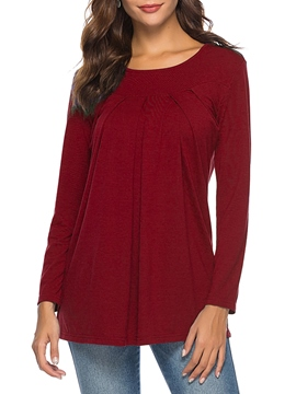 Ericdress Loose Casual Plain Pleated Long Sleeve T-shirt