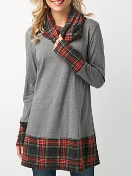 Ericdress Loose Plaid Casual Mid-Length Long Sleeve T-shirt