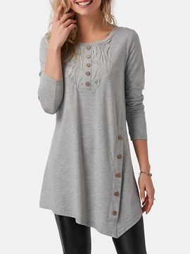 Ericdress Lace Patchwork Casual Loose Long Sleeve T-shirt