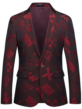 Ericdress Geometric Red Print One Button Mens Casual Ball Blazer