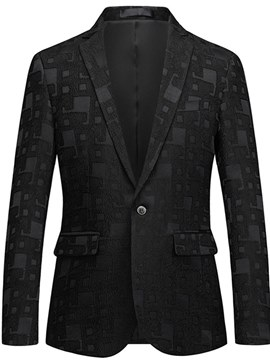 Ericdress Black Geometric Print One Button Mens Casual Blazer