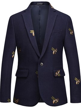 ericdress animal bordado un botón solapa mens casual bola blazer