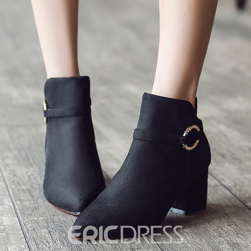 Ericdress Plain Pointed Toe Chunky Heel Women's Ankle Boots