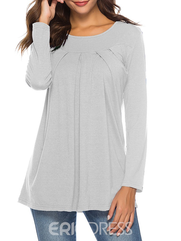 Ericdress Loose Casual Plain Pleated Mid-Length T-shirt