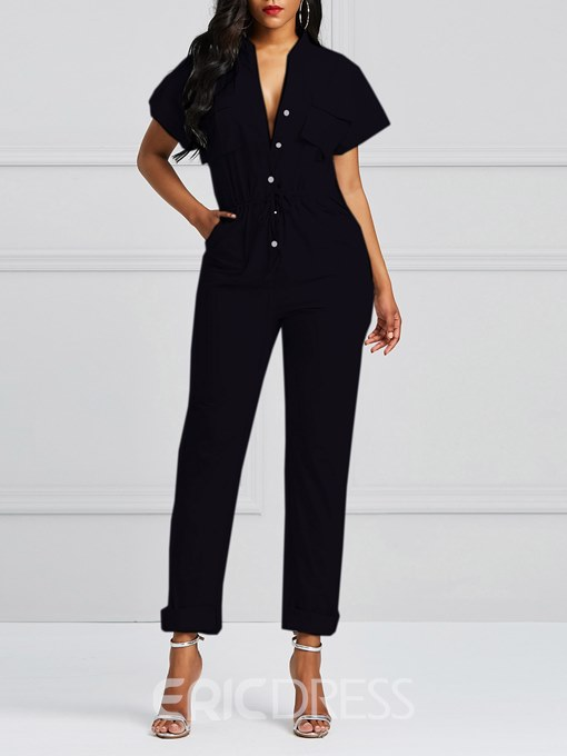 Ericdress Plain Button Lace-Up Pocket Women's Jumpsuit