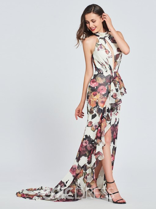 Ericdress Halter Floral Print High Low Backless Prom Dress