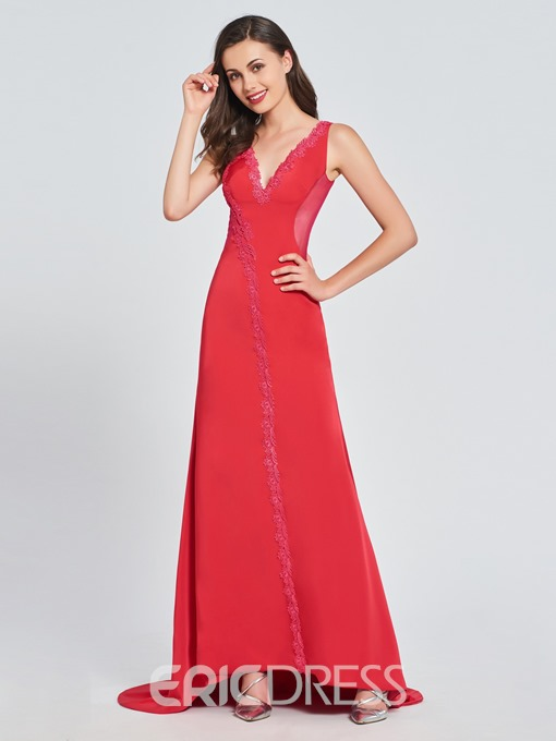 Ericdress V Neck Mermaid Prom Dress With Court Train