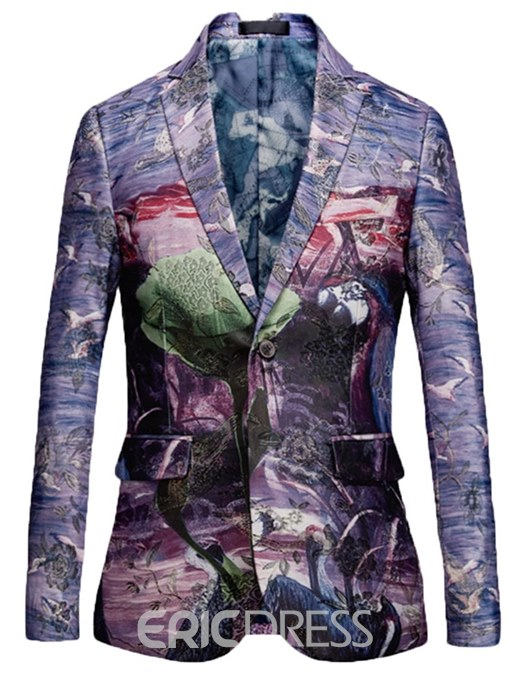 Ericdress Animal Floral Print One Button Lapel Mens Casual Ball Blazer