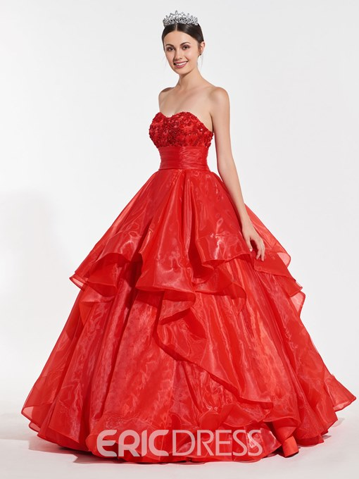 Ericdress Sweetheart Ruffles Ball Quinceanera Dress