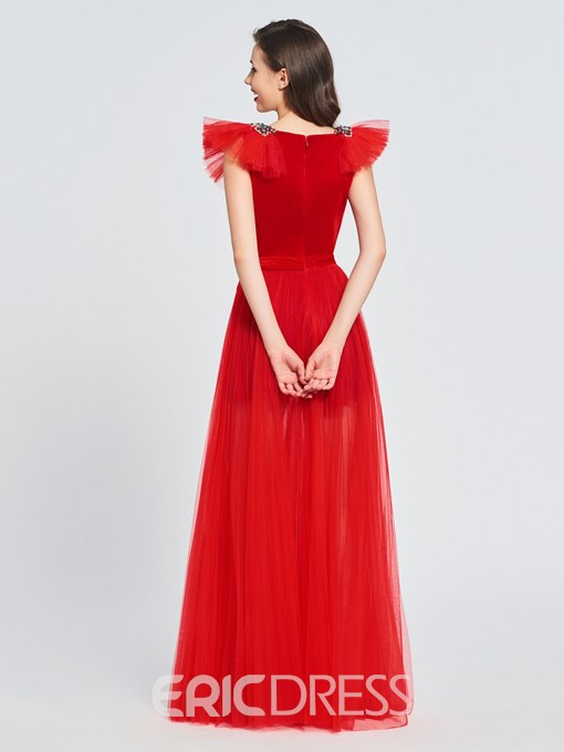 Ericdress A Line Beaded V Neck Cap Sleeve Red Prom Dress