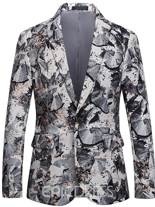 Ericdress Floral Lapel Print One Button Mens Casual Ball Blazer Jacket