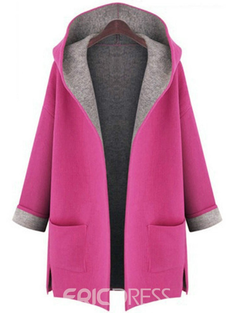 Ericdress Plus Size Loose Regular Hooded Fall Overcoat
