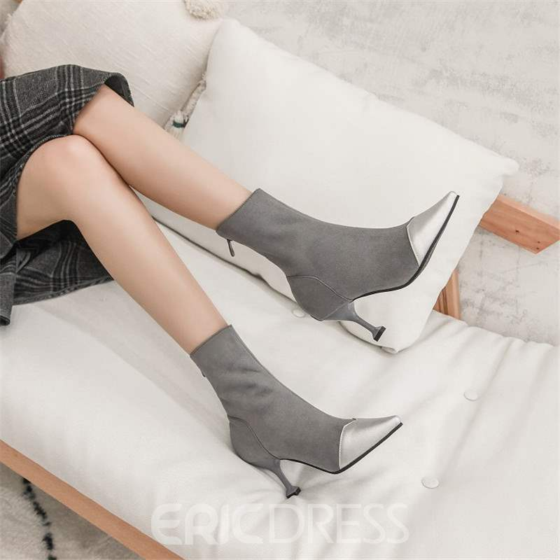 Ericdress Side Zipper Pointed Toe Ankle Boots