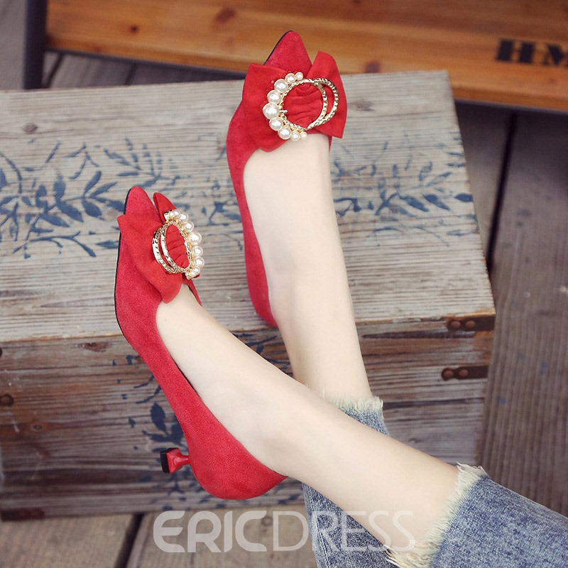 Ericdress Beads Pointed Toe Slip-On Women's Pumps