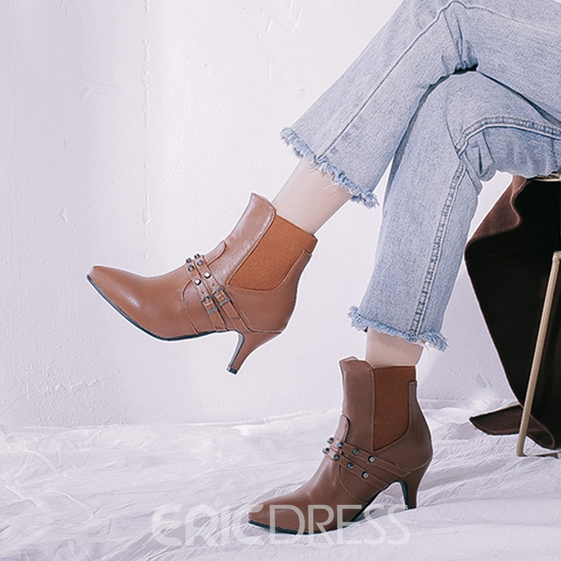 Ericdress Rivet Elastic Pointed Toe Kitten Heel Women's Ankle Boots