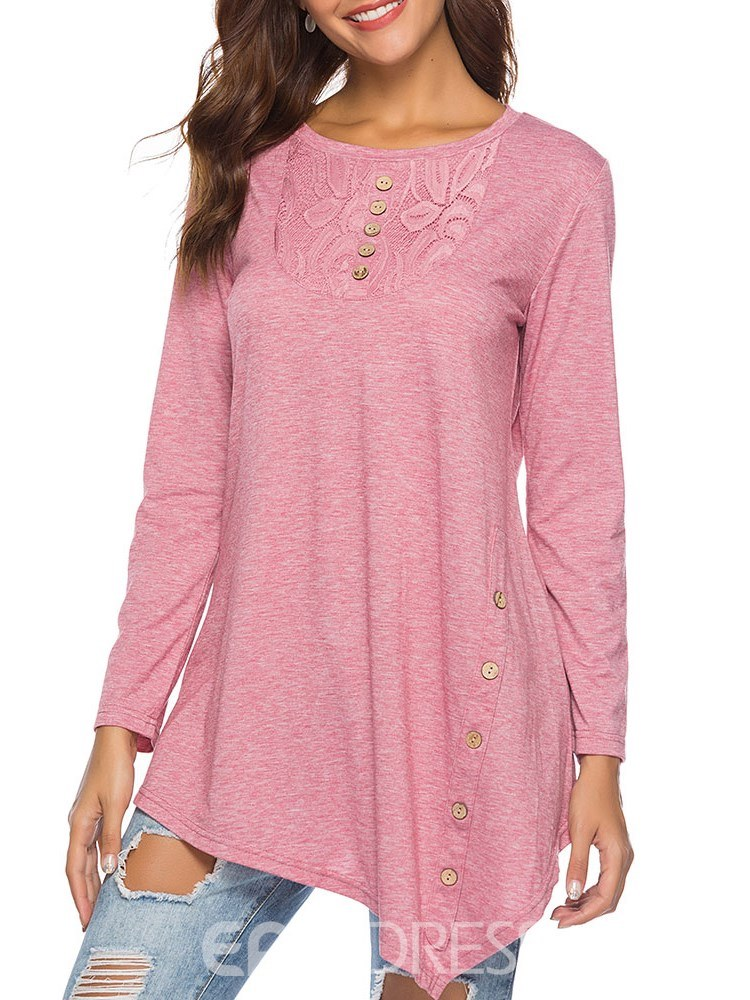 Ericdress Scoop Casual Lace Long Sleeve T-shirt