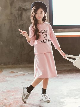Ericdress Pink Letter Print T Shirts &Skirt Girl's Casual Outfits