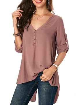 Ericdress V-Neck Loose Plain Pullover Long Sleeve Blouse