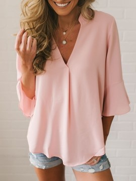 Ericdress Plain V-Neck Single Long Sleeve Blouse