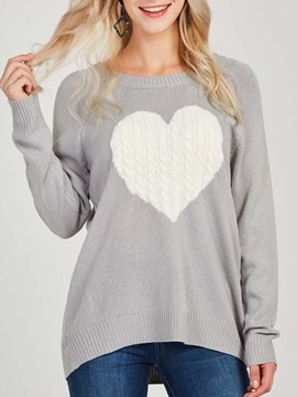 Ericdress Heart Shaped Patchwork Long Sleeves Knitwear