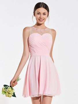 Ericdress Short A Line Pink Bridesmaid Dress