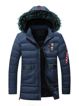 Ericdress Plain Fur Hooded Zipper Pocket Mens Thick Quilted Coats
