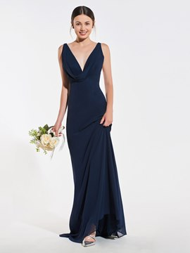 Ericdress A Line V Neck Chffon Long Bridesmaid Dress