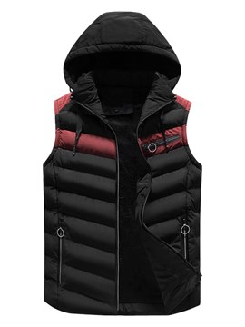 Ericdress Patchwork Zipper Removable Hooded Mens Casual Warm Vest
