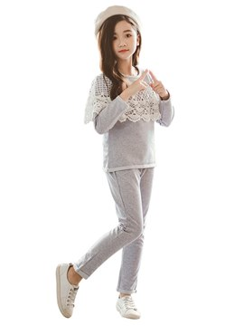 Ericdress Lace Plain T Shirts & Pants Girl's Casual Sports Outfits