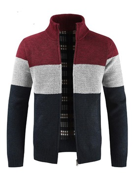 Ericdress Color Blcok Patchwork Stand Collar Mens Casual Cardigan Sweaters