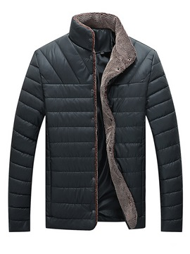 ericdress stehkragen plain mens winter gesteppte jacke