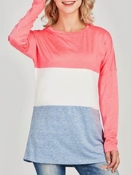Ericdress Color Block Patchwork Scoop Long Sleeve T-shirt