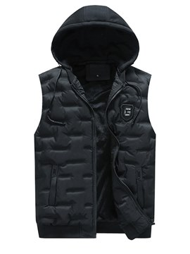 Ericdress Plain Zipper Hooded Pocket Mens Vest