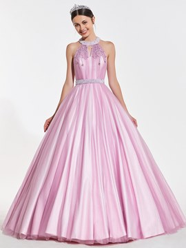 Ericdress Beaded Jewel Neck Ball Quinceanera Dress