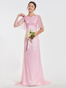 Ericdress Sheath V Neck Lace Empire Long Bridesmaid Dress