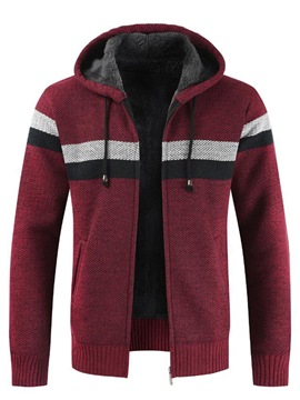 Ericdress Patcwork Hooded Zipper Slim Mens Casual Winter Cardigan Sweaters