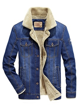 ericdress Plain Slim Einreiher Mens Casual Winter Denim Jacke