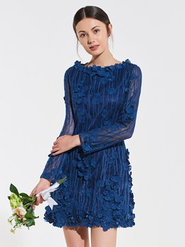 Ericdress A Line Long Sleeve Lace Bridesmaid Dress
